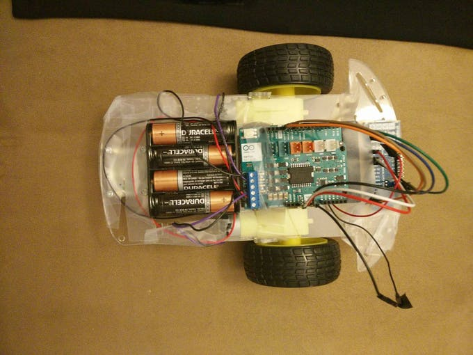 The robot. Showing the Arduino Motor Shield and MKR1000 on the far right.