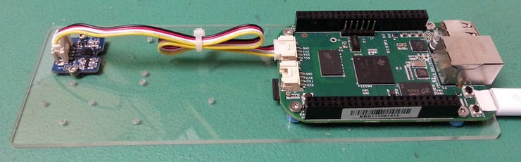 Accelerometer connected to the on-board i2c Grove connector.