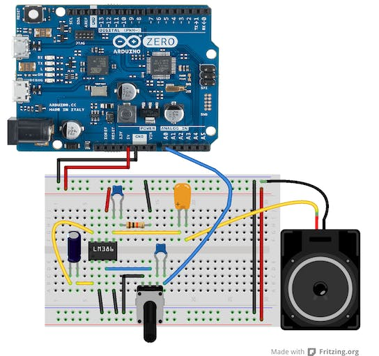 Fritzing Audio Amplifier for Arduino/Genuino Zero - also works in Arduino MKR1000