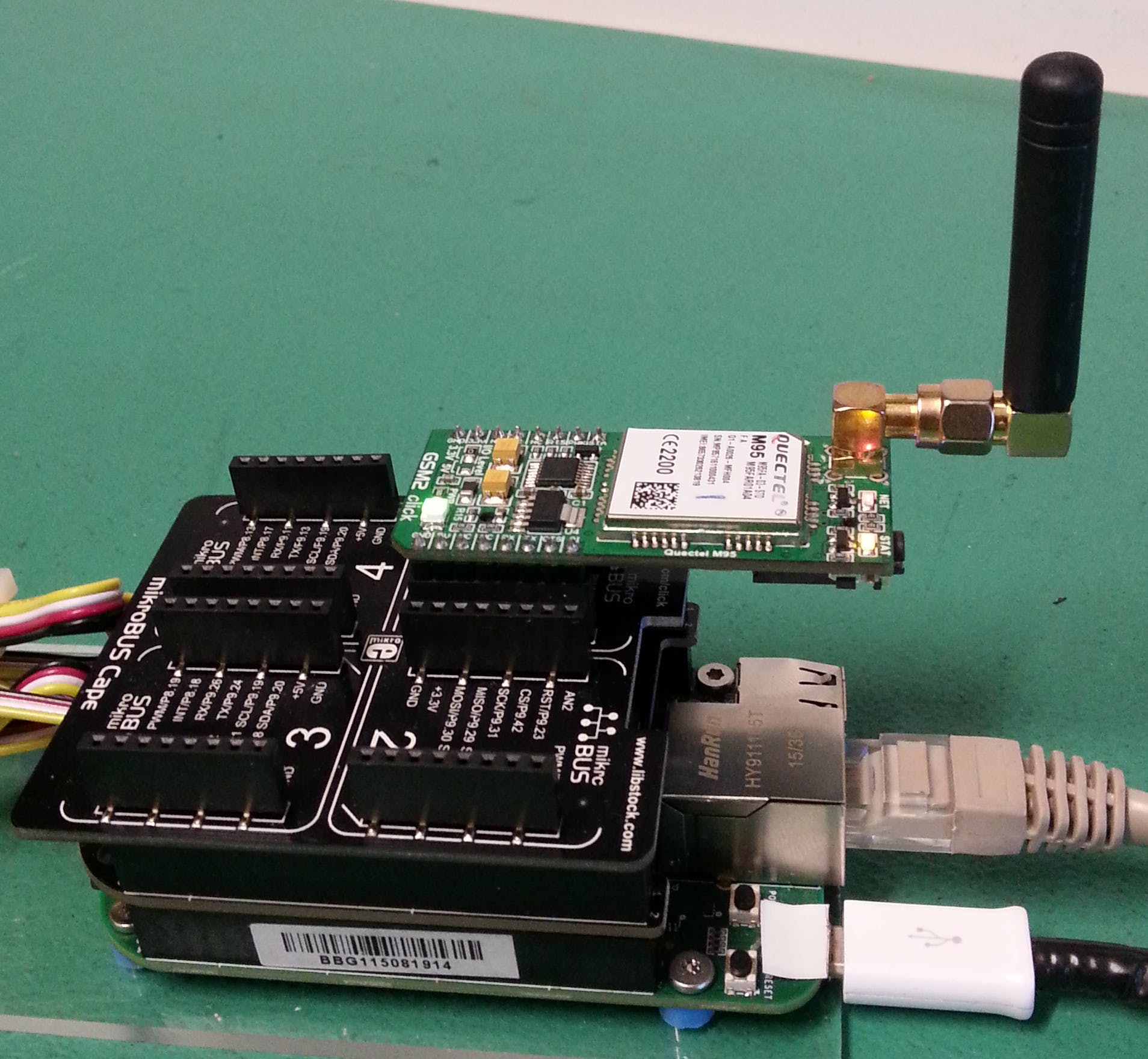 The GPRS Modem, GSM Antenna and MikroBus Cape connected