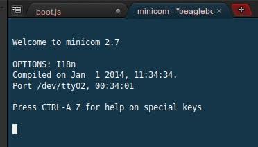 The minicom console