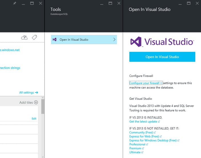 Opening the SQL database in Visual Studio through the Azure Portal.