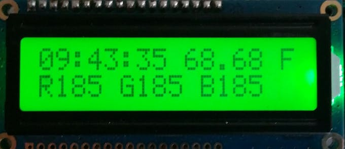 lcd screen with time, temp and led outputs