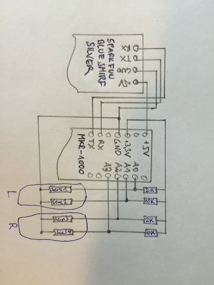 circuit-diagram (i used 2K and 10K as voltage divider -> take care not to exceed the max. Ampere!)