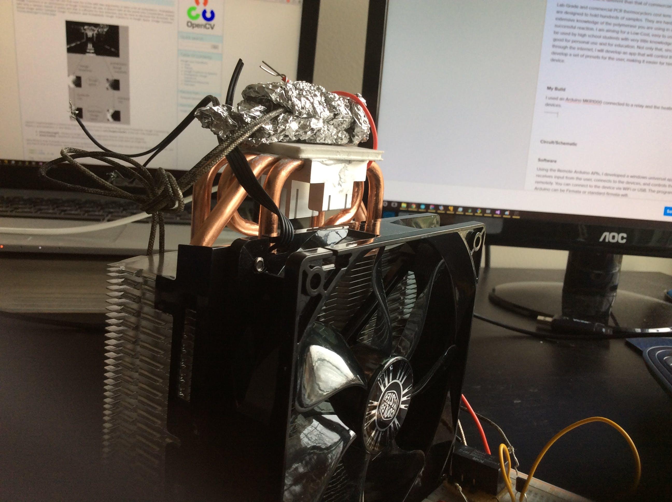 Peltier, sample holder(tin foil), CPU cooler, and temp sensor