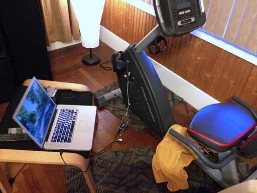Exercise bike, Arduino interface, MacBook, and Google Maps Street View