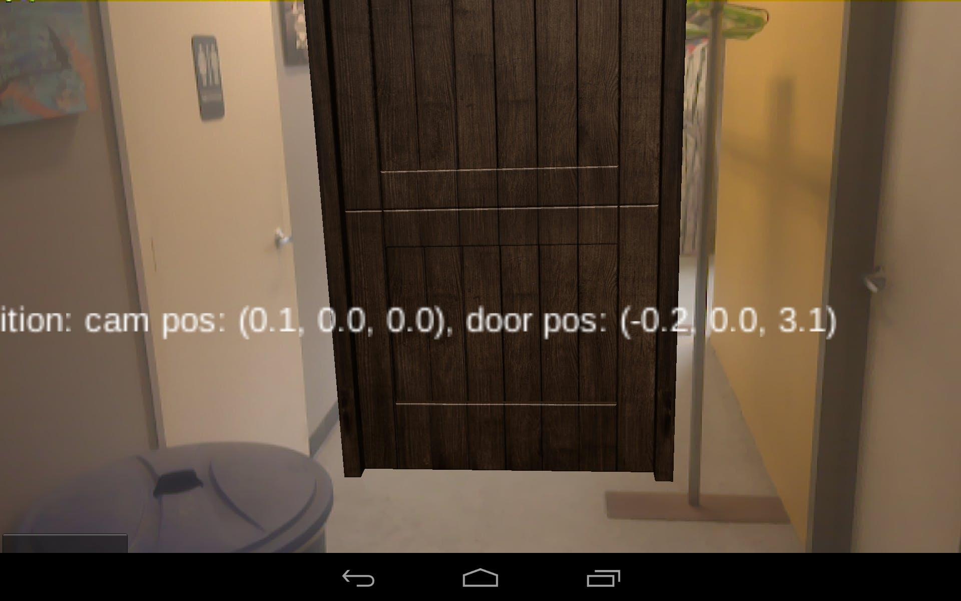 Augmented reality scene after placing door.
