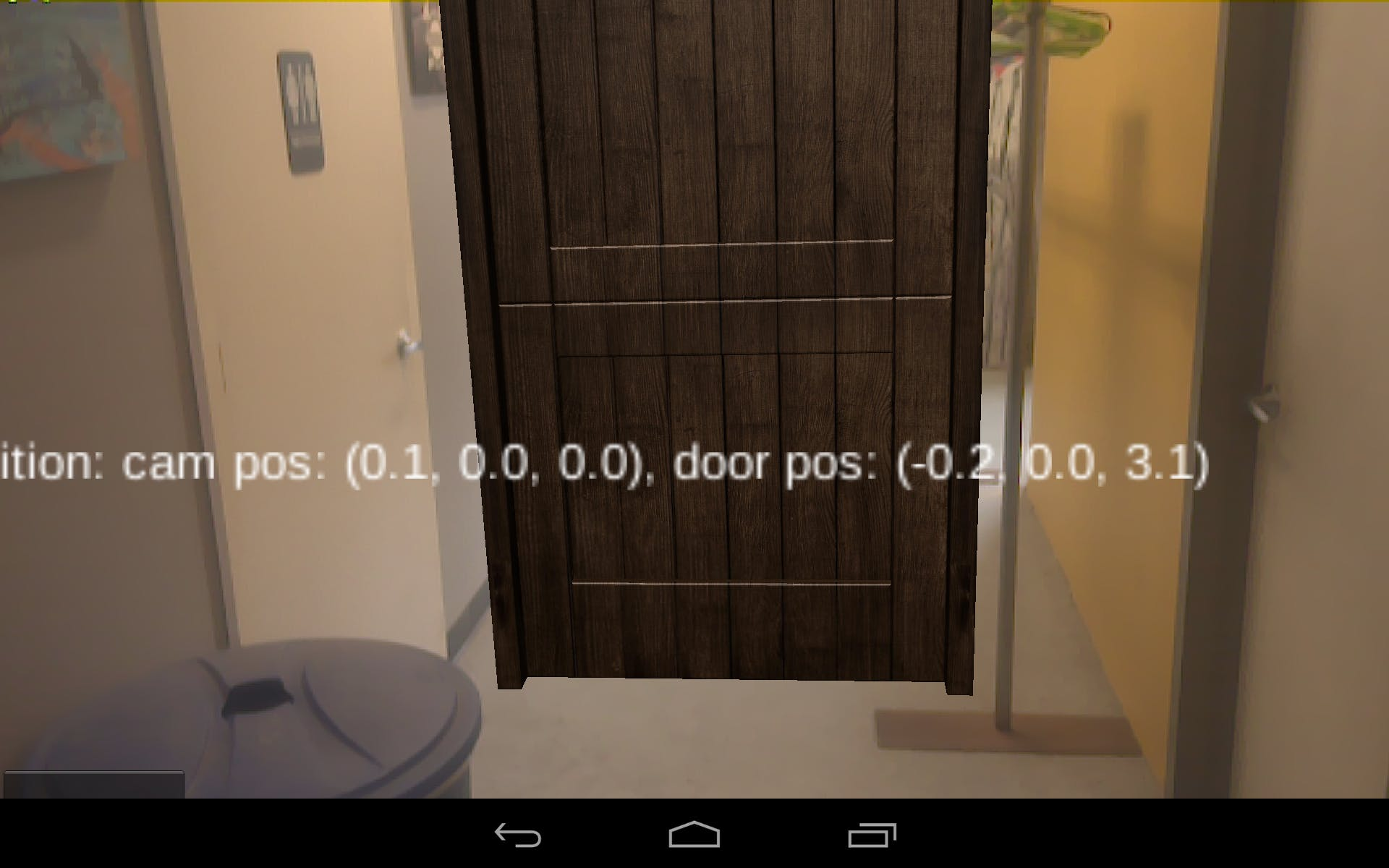 Augmented reality scene after placing door.