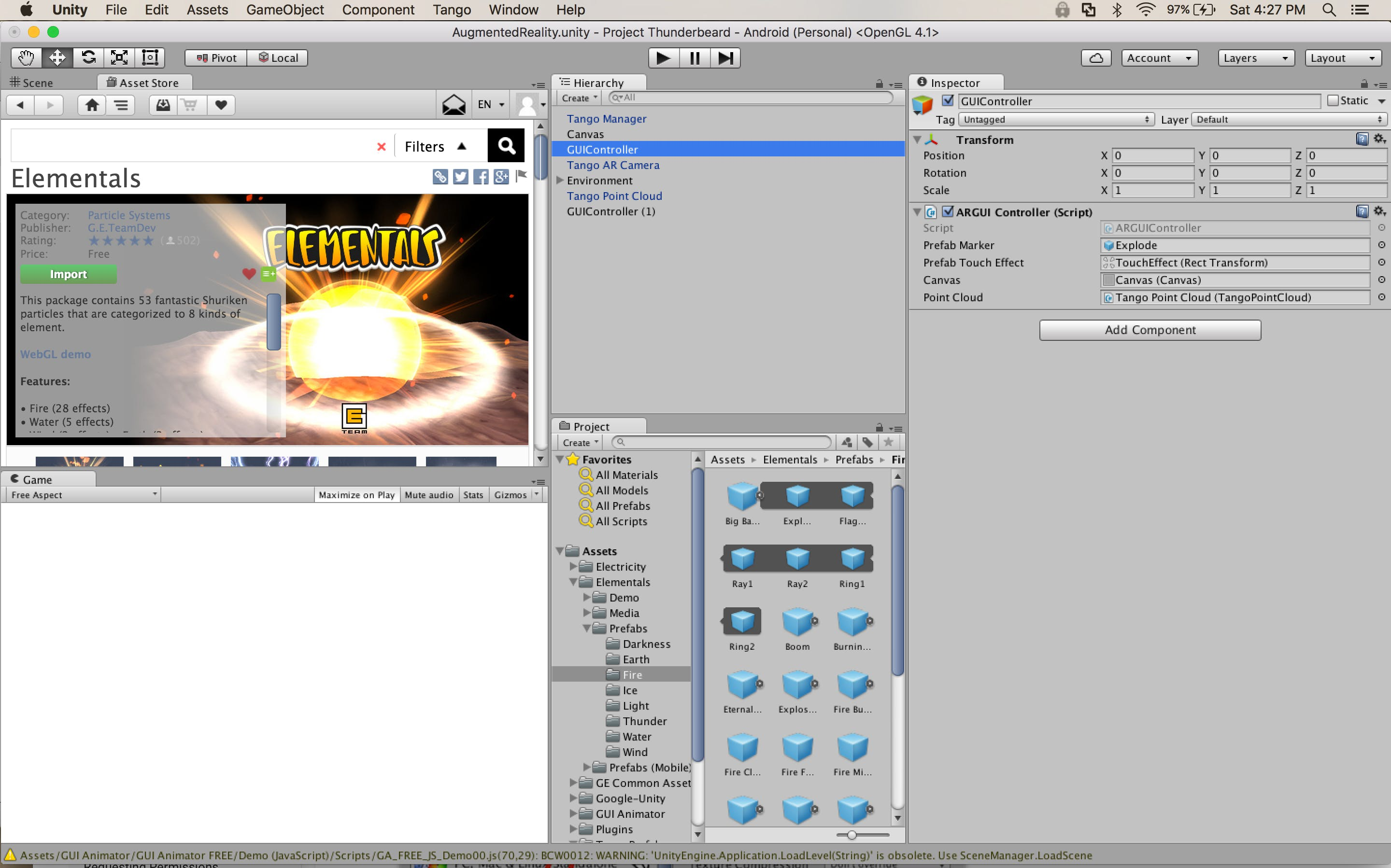Image 3 Displays the Unity3D interface with the selected assets