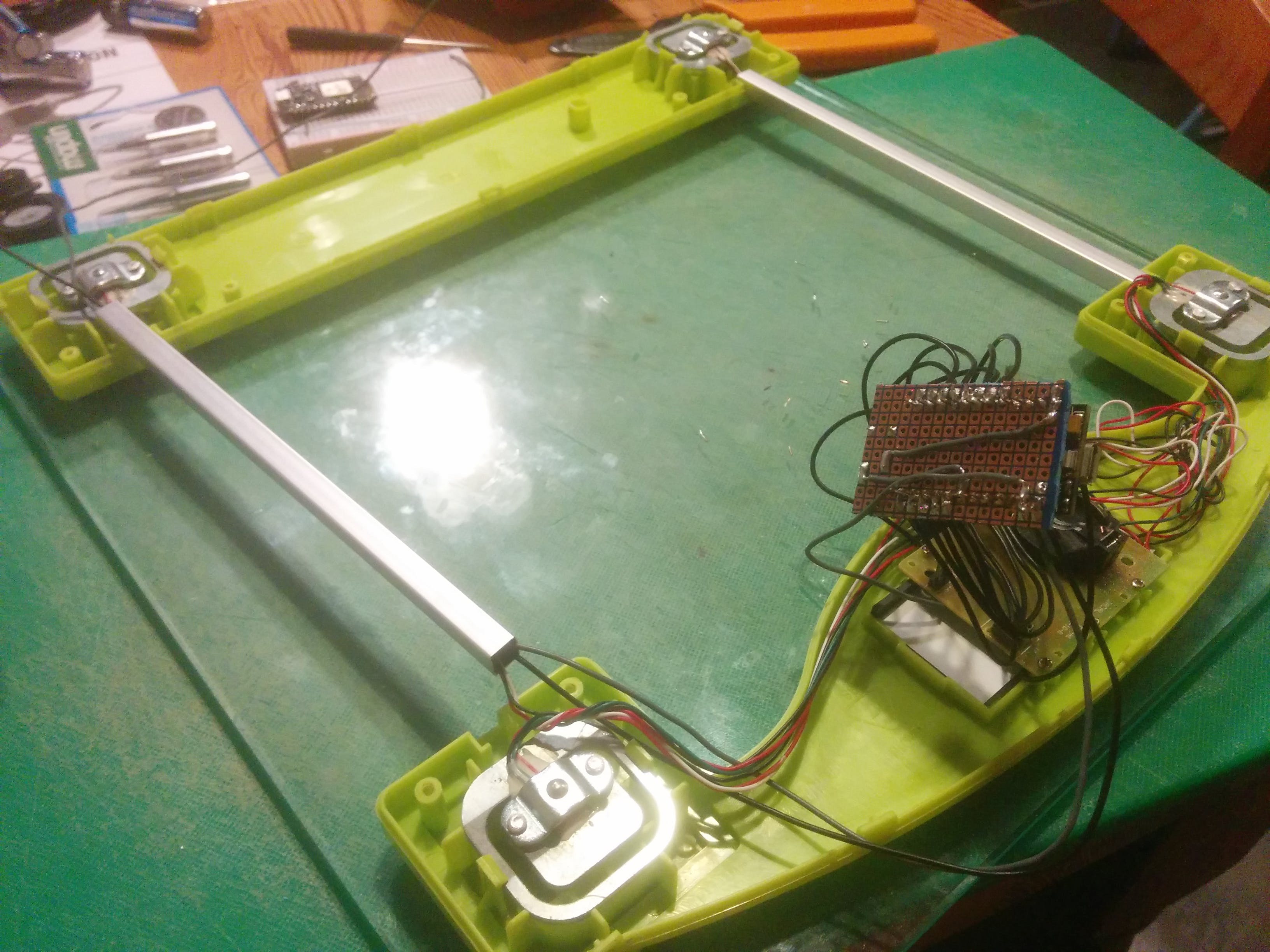 LCD and scale board screwed into place, Core and button soldered onto matrix board