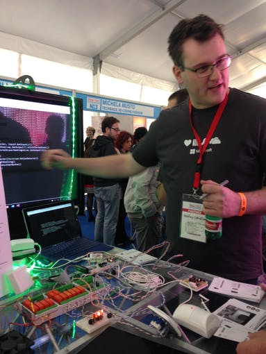 The Microsoft booth at Maker Faire 2015