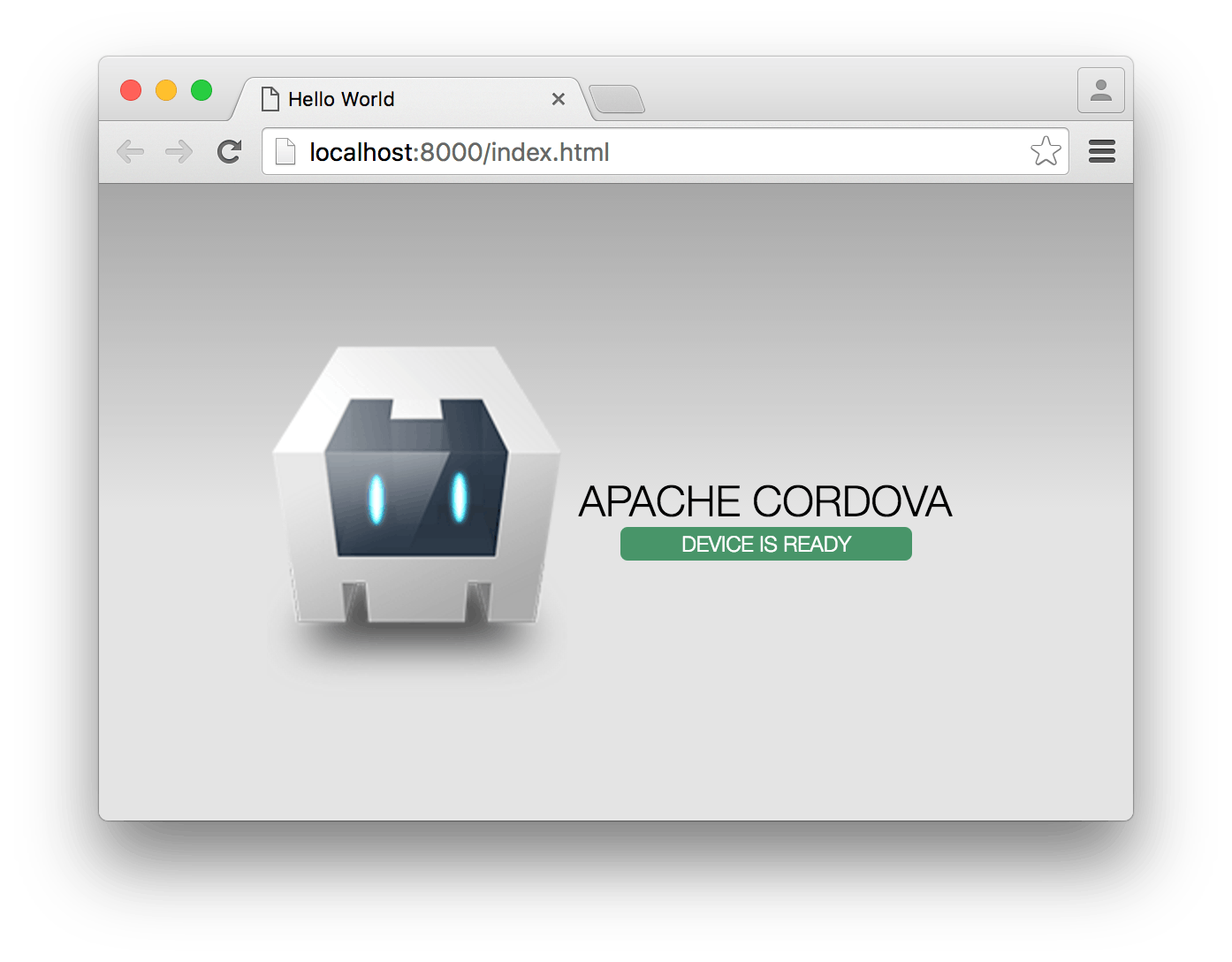 "This is what you should see after running ""cordova run browser""."