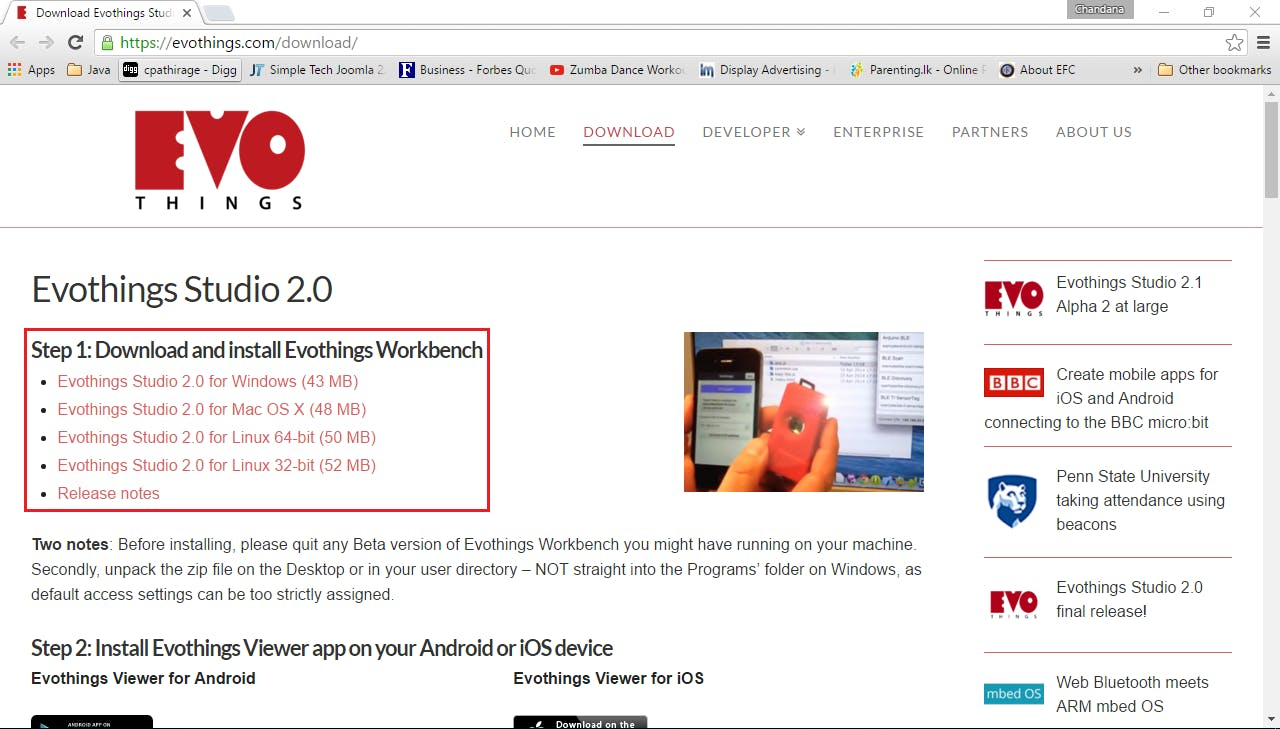 Download and install Evothins workbench