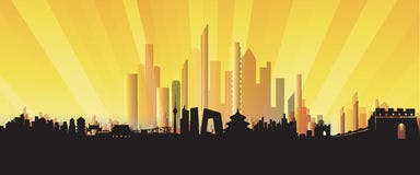 Three dimensional beijing skyline city silhouette artwork 36250650