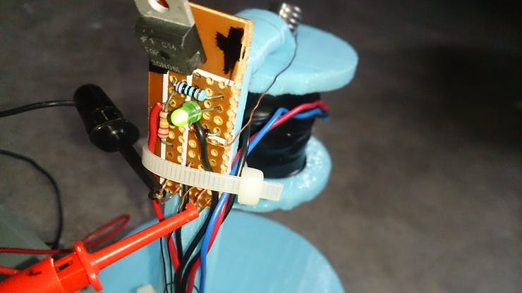 The back of the stand, showing the perf board I soldered to hold my components.