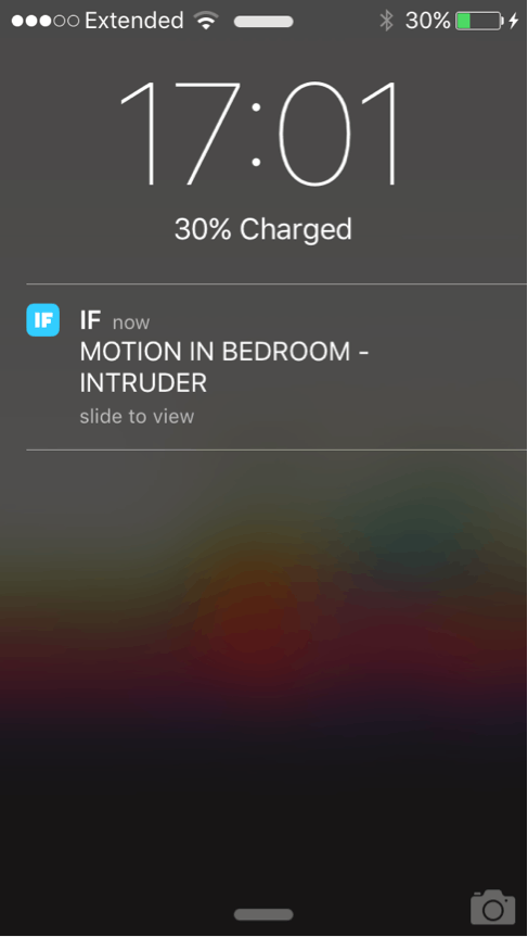 Notification when motion is detected