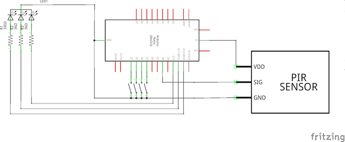 The final schematic. Not 100% sure if those resistor values are correct though.