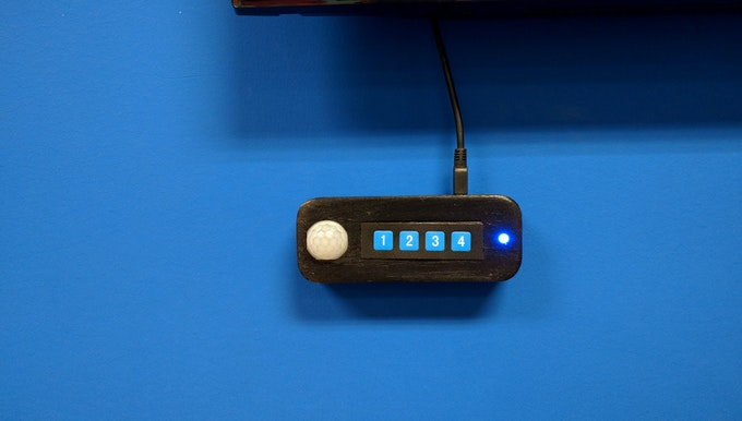 Close-up of the controller