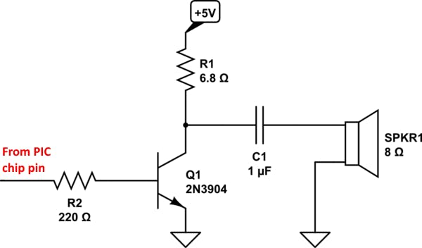 Fig-1: 5v 2N3904 NPN single transistor audio amp schematic. The entire  circuit can be fit in a Tic-Tac container (see cover photo). Headphones  or a small speaker may be used.