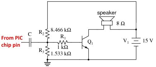 Fig-2: 15v NPN single transistor audio amp schematic