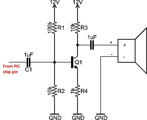 Fig-3: 12v NPN single transistor audio amp schematic