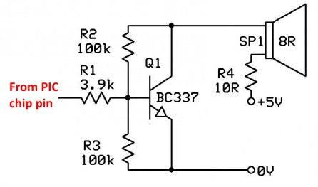 Fig-4: 5v Chip driven BC337 NPN single transistor audio amp schematic