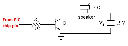Fig-5: 15v NPN single transistor audio amp schematic