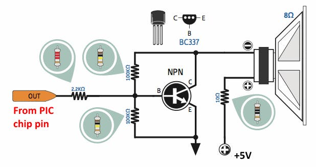 Fig-6: 5v NPN single transistor audio amp schematic