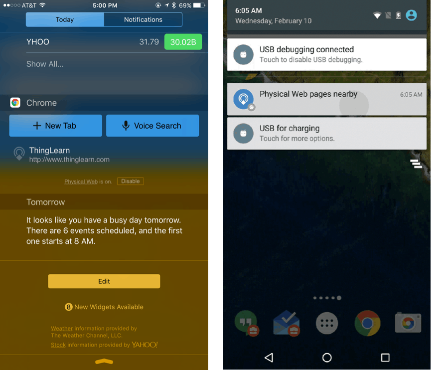 The physical web url is picked up in the iOS 'today' tab, while a notification is sent on Android