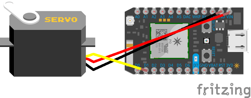 Connect the servo wires to D1, VIN and GND on the Photon