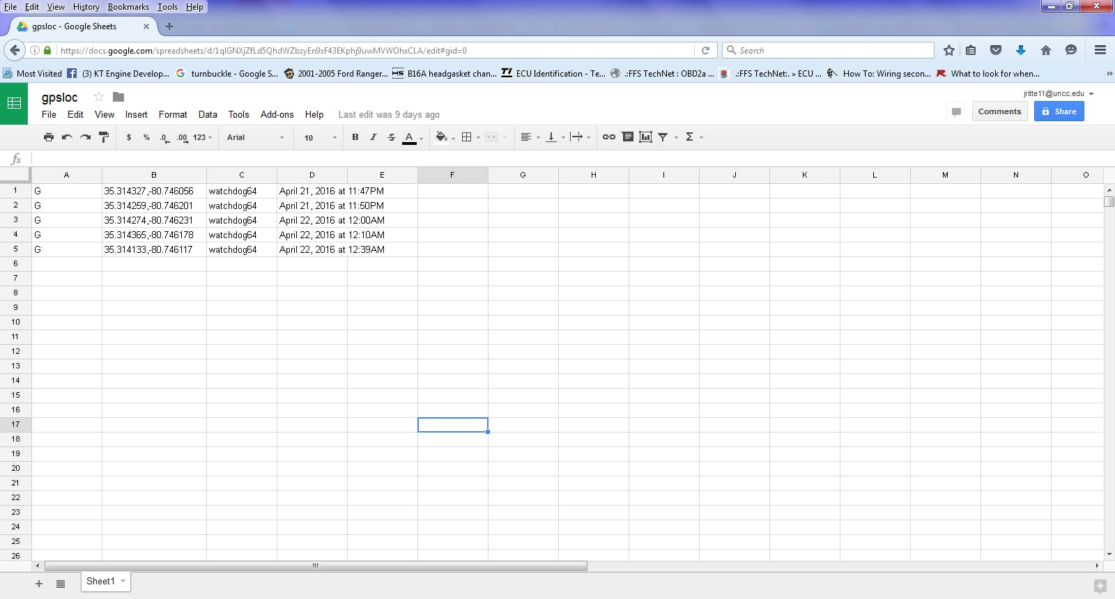 Spreadsheet on google drive