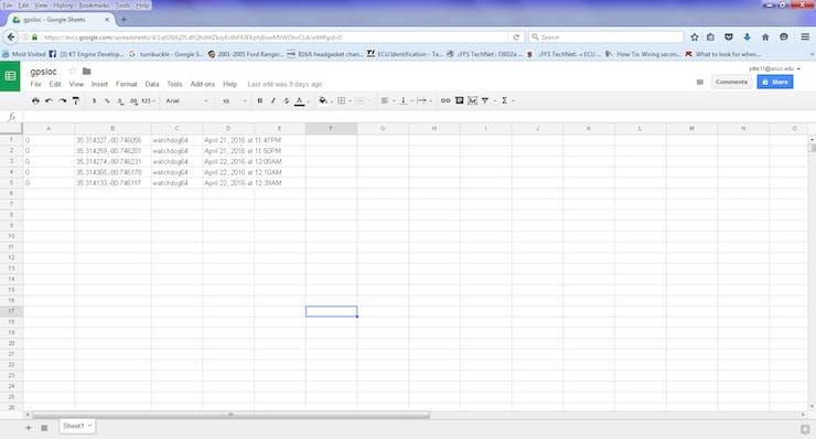 Spreadsheet on google drive