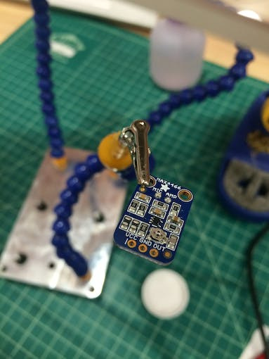 Our sensor before soldering the 3 pins on.