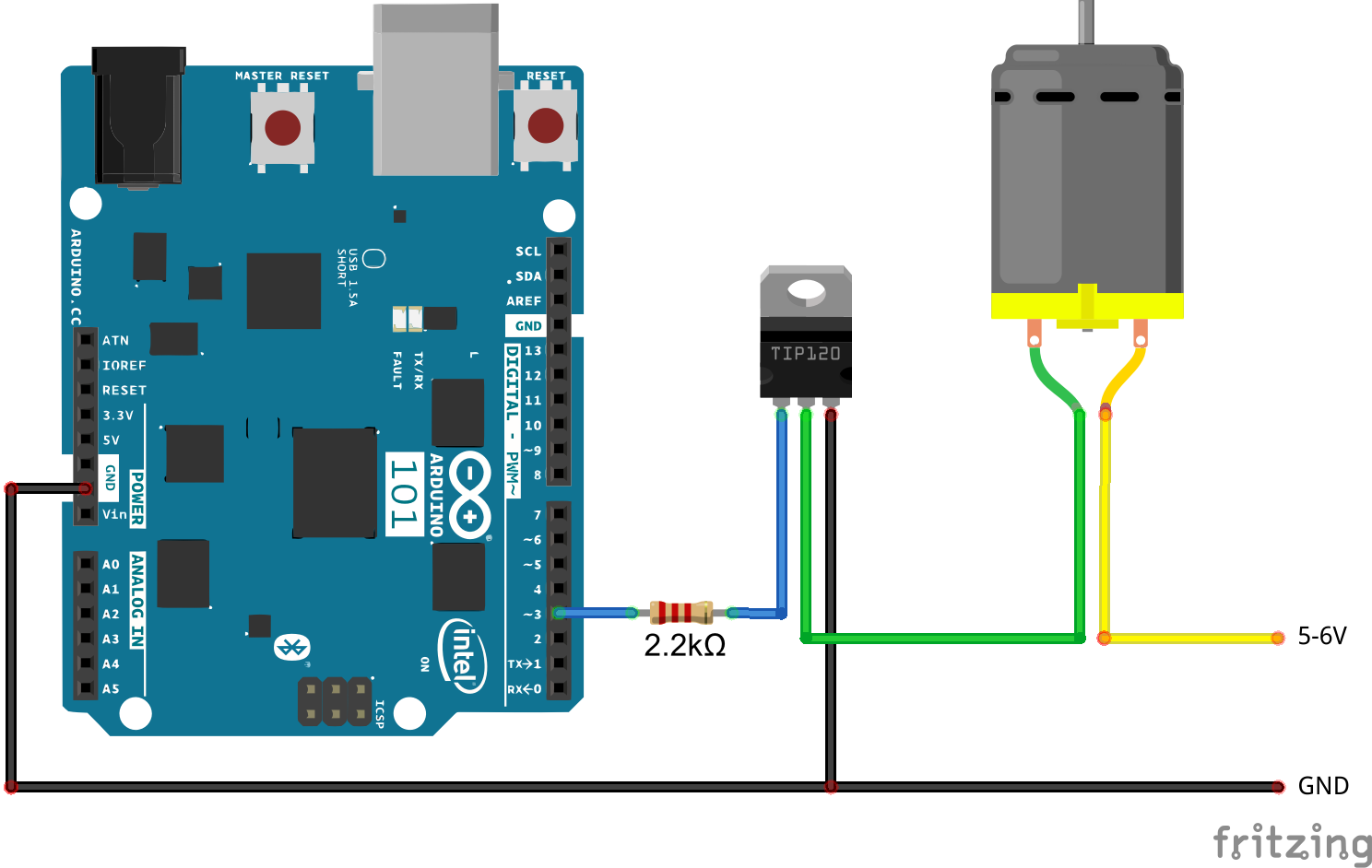 Controlling a DC motor from an Arduino 101 board Arduino Project Hub