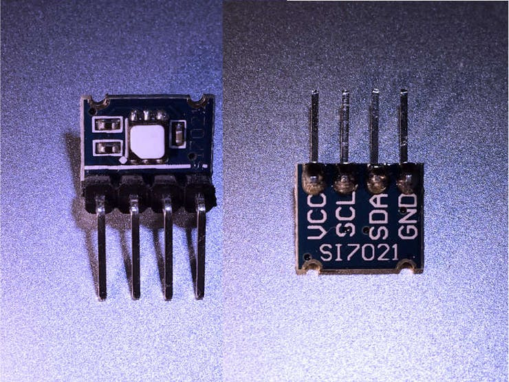 Sensor Module using the Silicon Labs SI7021 (Front and Back)