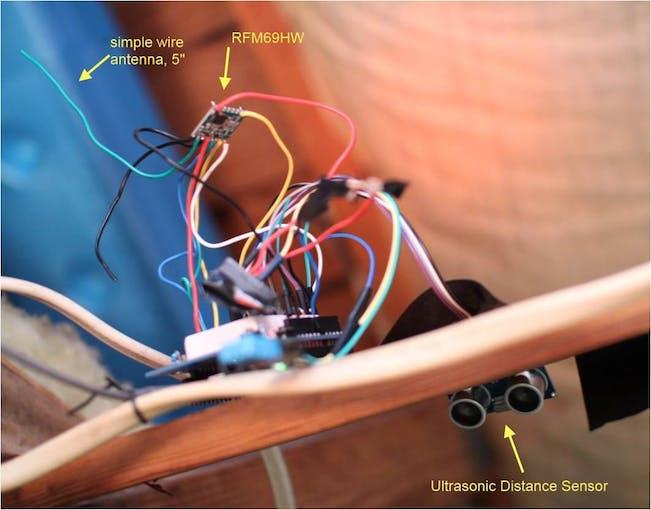 Garage sensor node w/ ultrasonic distance sensor