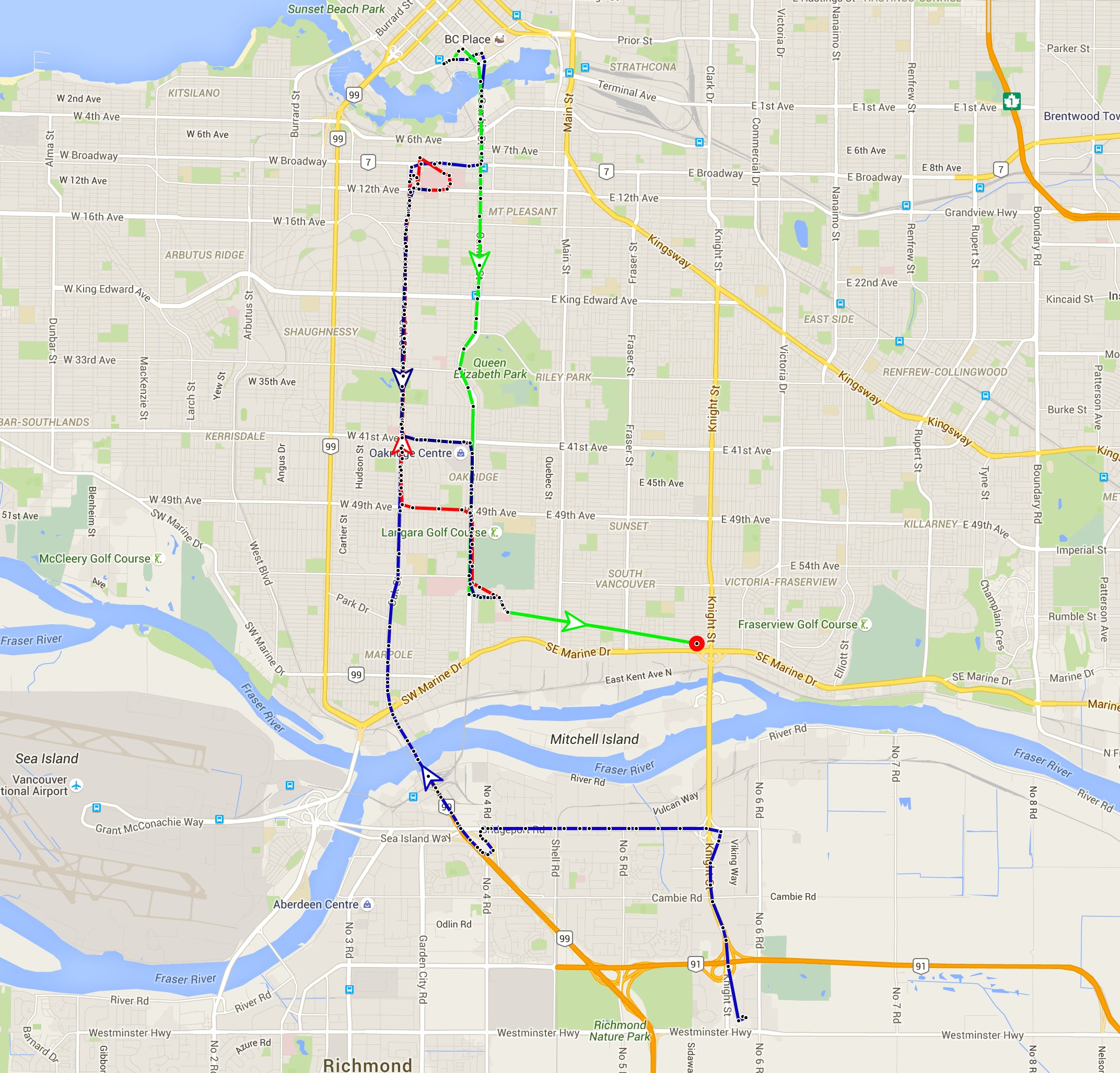 map sample with several day trips around the city