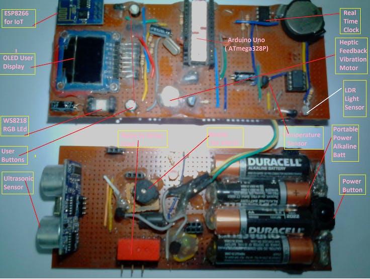 2 layered Arduino-ESP IoT MCU with sensors