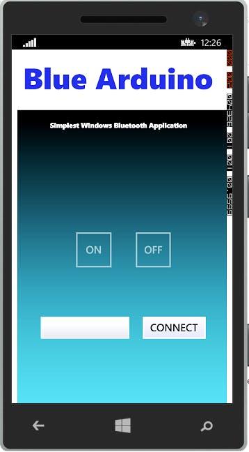 "User Interface of ""Blue Arduino"" App"
