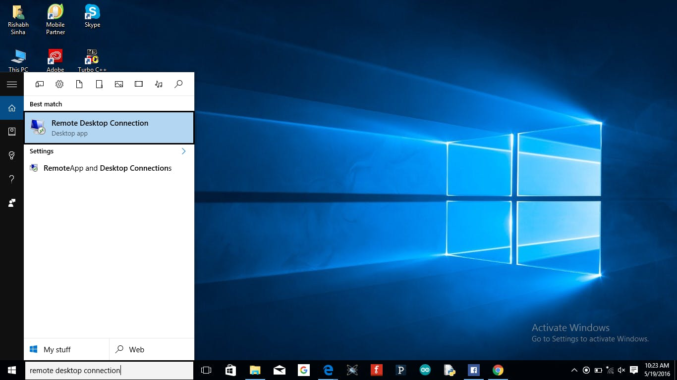 Open up the search box and type Remote Desktop Connection