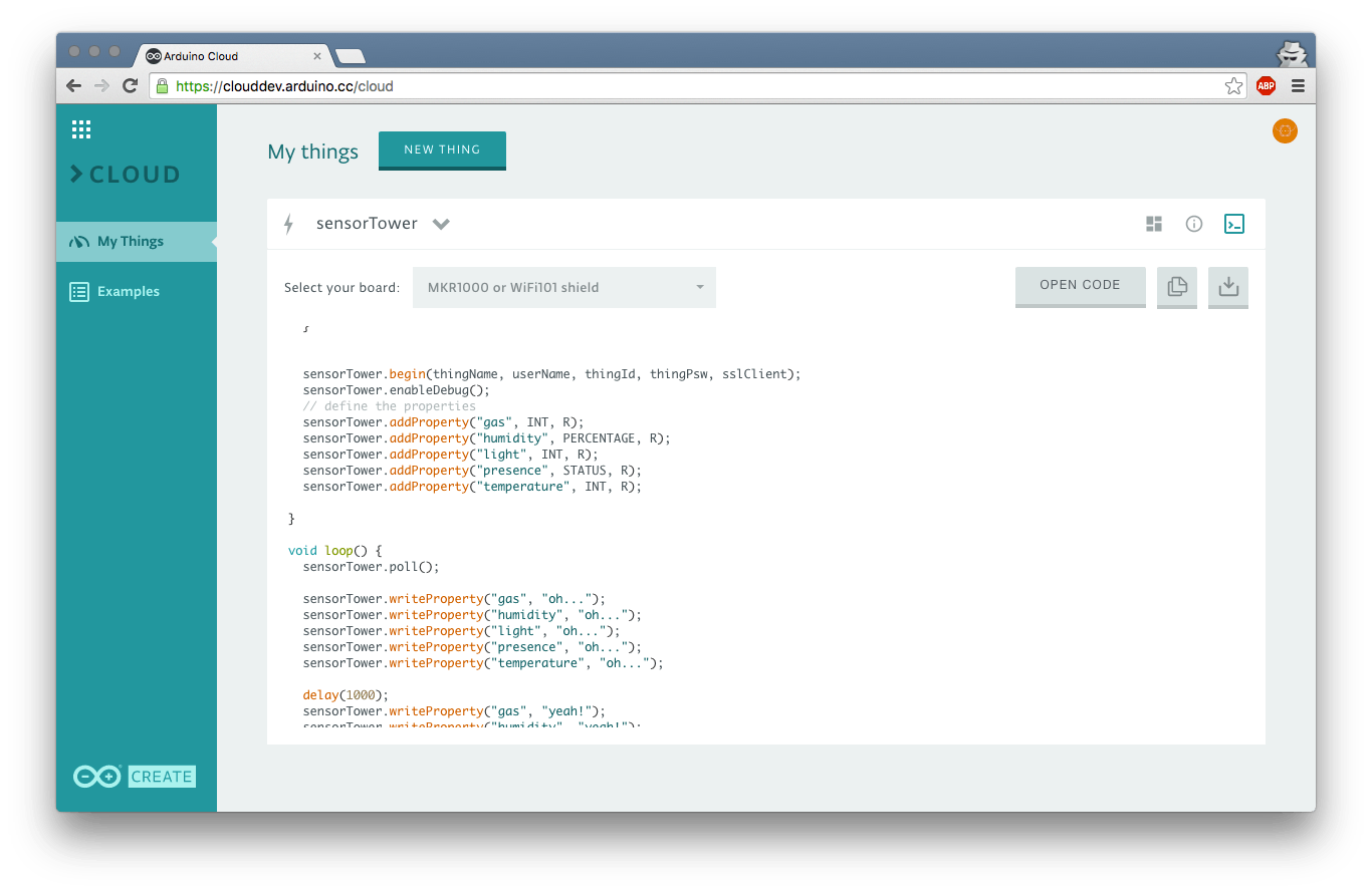 Generated template code