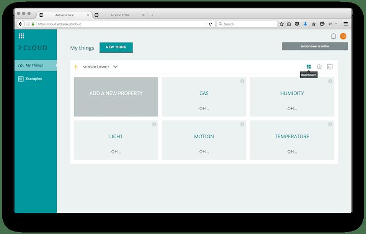 The Arduino Cloud dashboard