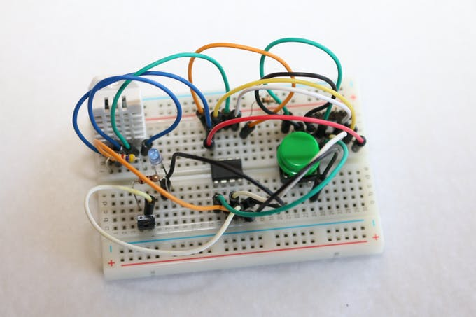 Top view of DHT Tiny on a breadboard.