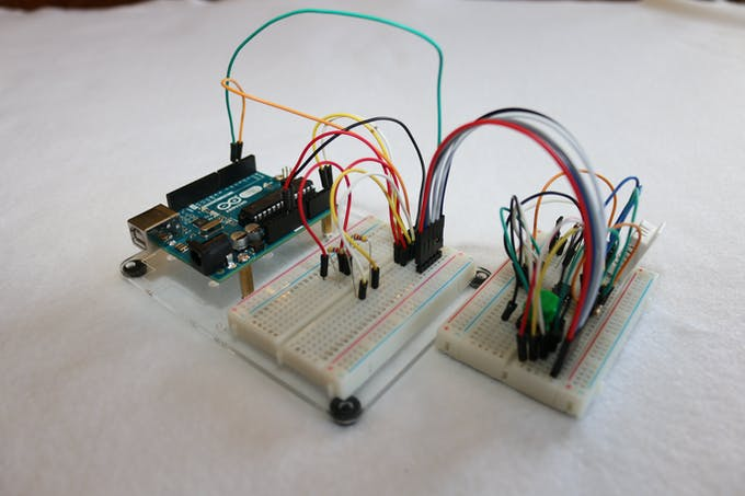 The DHT Tiny breadboard connected to the Uno.
