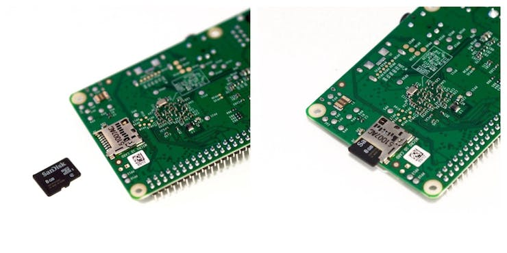 Something that sometimes confuses first timers: how to insert the MicroSD card into the Pi.