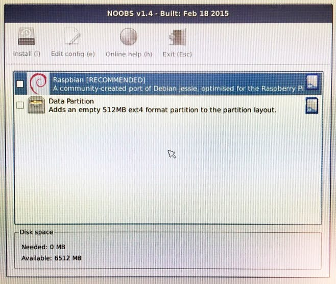 The NOOBS install screen.
