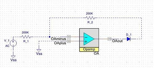 A single supply op-amp (a component on the PSoC5) configured as a precision rectifier. Note how PSoC Creator allows you to add external components (in the dark blue) to help with documentation. The physical input and output pins on the device are indicated by the squares on the schematic.