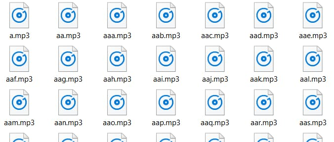 A lot of generated mp3's with any 3-letter-combination stored in AWS S3