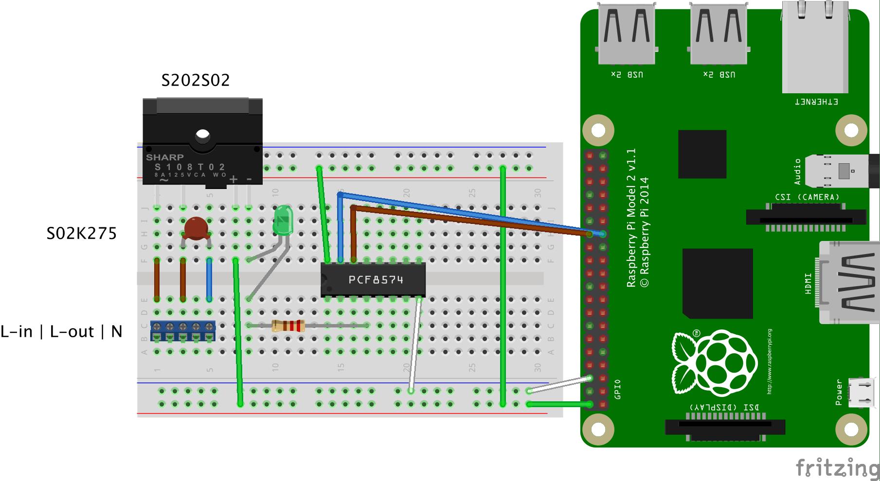 Hardware sketch for one 230V channel