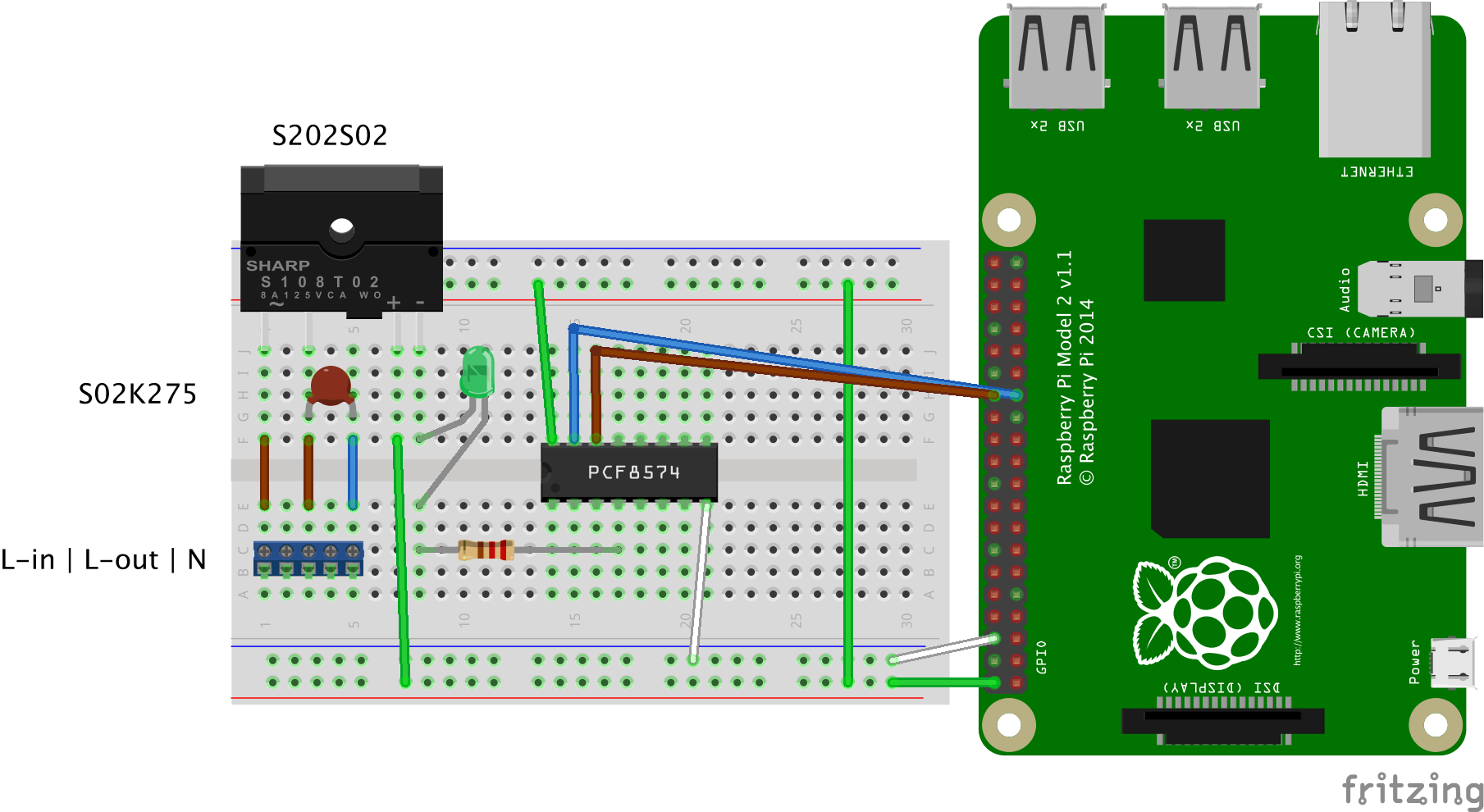 Hardware sketch for one 230V channel